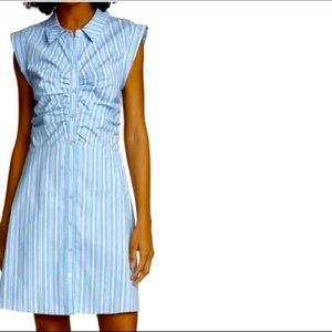 VERONICA BEARD Ferris Ruched Stretch Poplin dress.